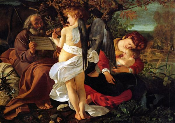 Caravaggio, Michelangelo Merisi da: Rest During the Flight from Egypt. Fine Art Print/Poster. Sizes: A4/A3/A2/A1 (00461)